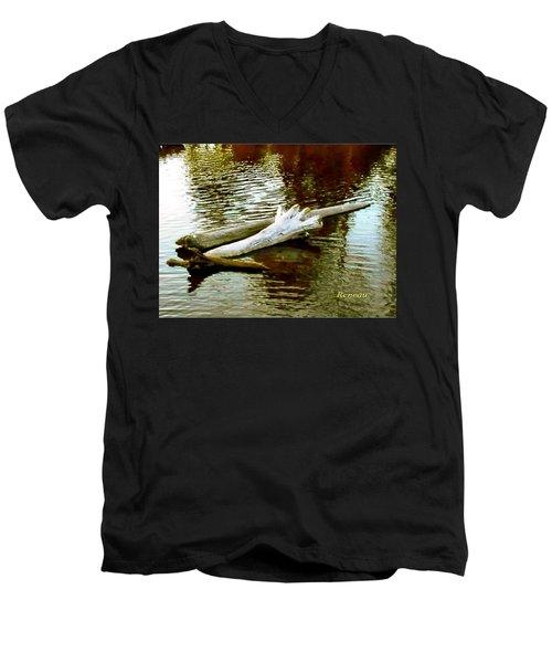 Nailbiting Driftwood Men's V-Neck T-Shirt by Sadie Reneau