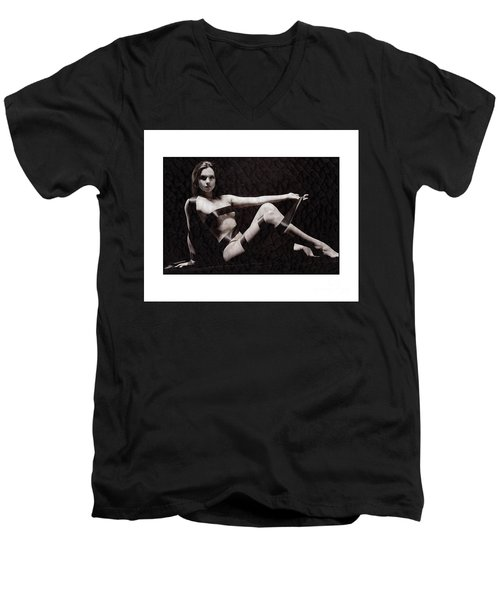 Naked Girl With Tape Around Her Men's V-Neck T-Shirt