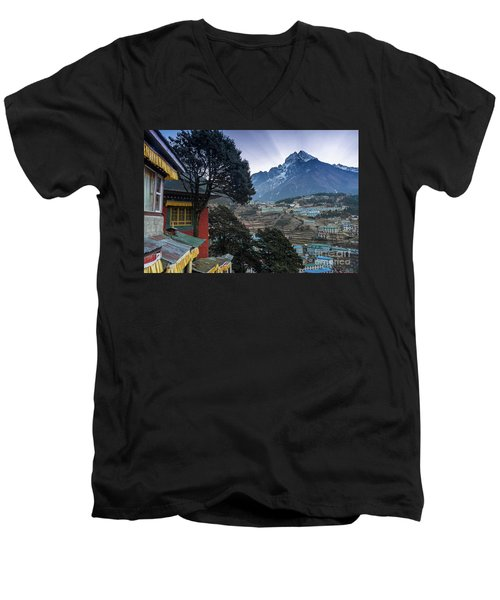 Men's V-Neck T-Shirt featuring the photograph Namche Monastery Morning Sunrays by Mike Reid