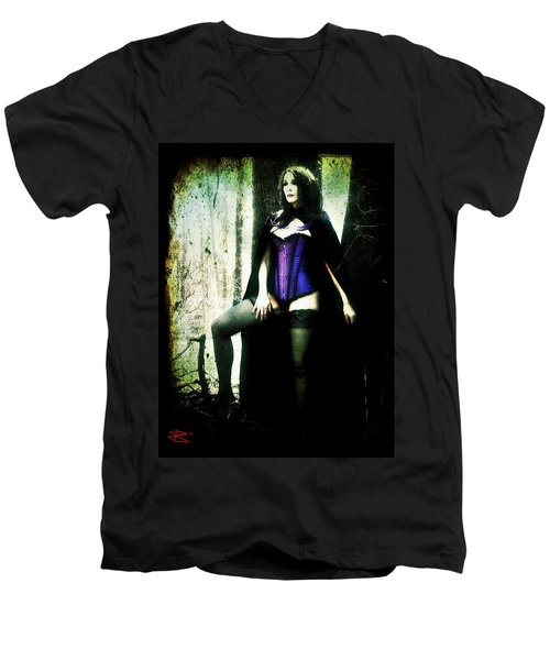 Men's V-Neck T-Shirt featuring the digital art Nancy 1 by Mark Baranowski