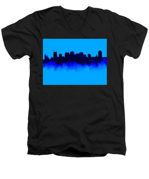 Nashville  Skyline Blue  Men's V-Neck T-Shirt by Enki Art