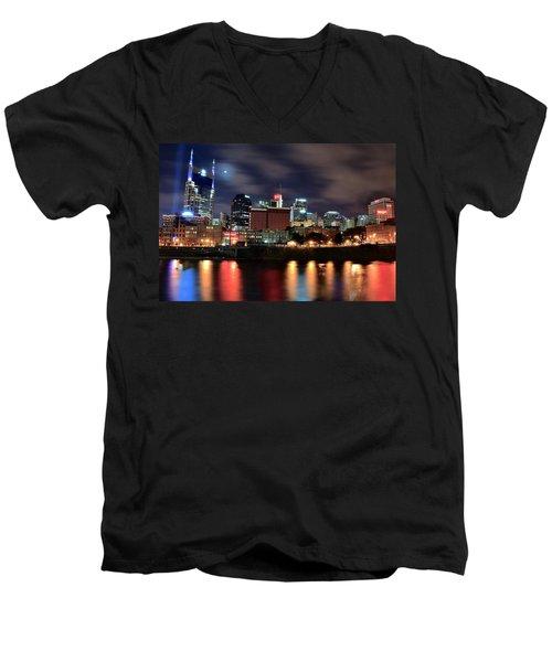Nashville Skyline Men's V-Neck T-Shirt by Frozen in Time Fine Art Photography