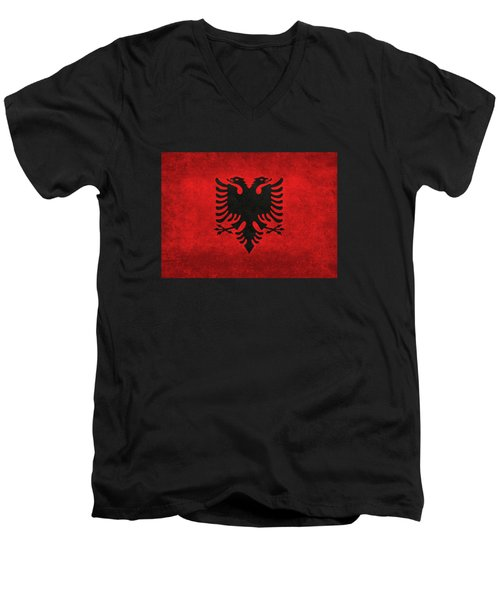 National Flag Of Albania With Distressed Vintage Treatment  Men's V-Neck T-Shirt by Bruce Stanfield