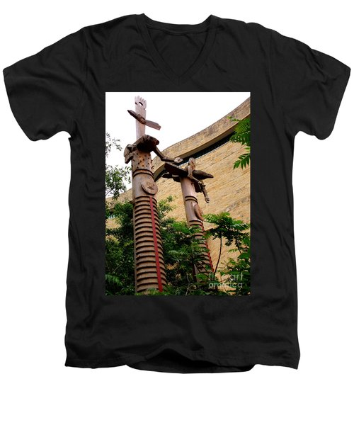 National Museum Of The American Indian 3 Men's V-Neck T-Shirt by Randall Weidner