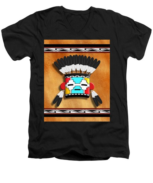 Native American Indian Kachina Mask Men's V-Neck T-Shirt by John Wills