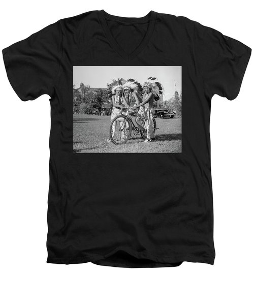 Native Americans With Bicycle Men's V-Neck T-Shirt