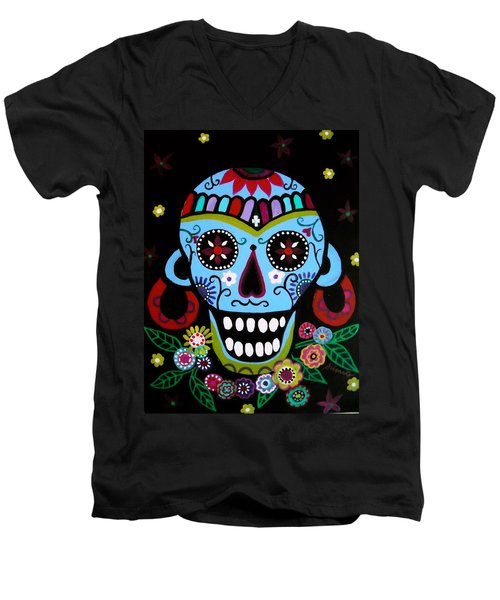 Native Dia De Los Muertos Skull Men's V-Neck T-Shirt by Pristine Cartera Turkus