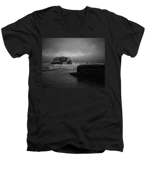Men's V-Neck T-Shirt featuring the photograph Natural Bridge And The Gull by Lora Lee Chapman