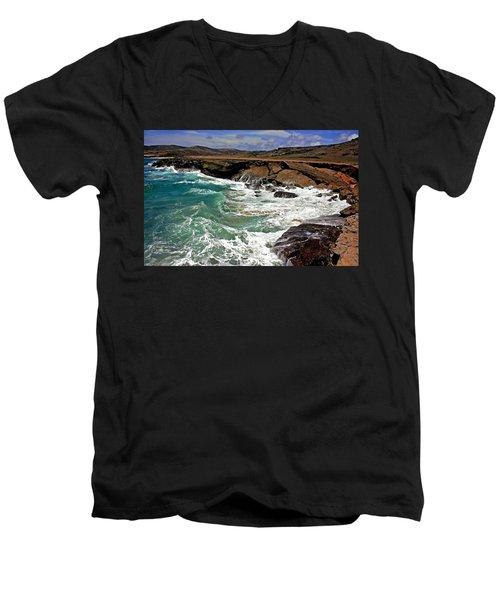 Men's V-Neck T-Shirt featuring the photograph Natural Bridge Aruba by Suzanne Stout