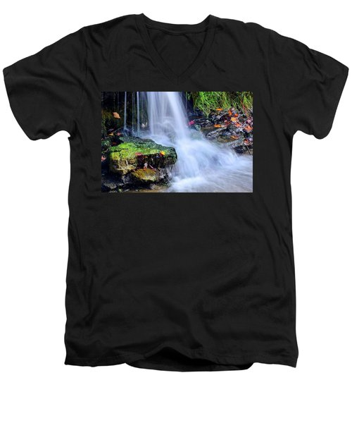 Men's V-Neck T-Shirt featuring the photograph Natural Flowing Water by Frozen in Time Fine Art Photography