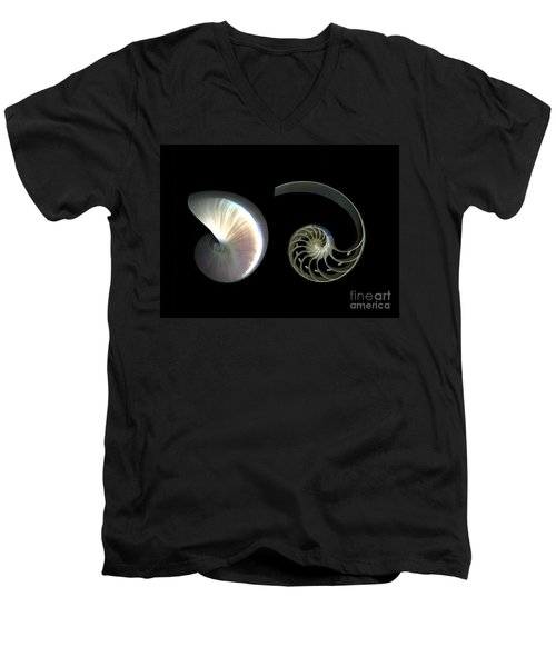Nautilus Deconstructed Men's V-Neck T-Shirt by Christian Slanec
