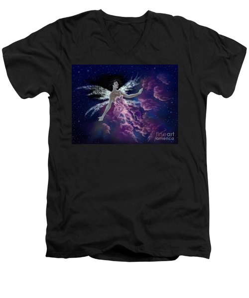 Men's V-Neck T-Shirt featuring the painting Nebula by Amyla Silverflame