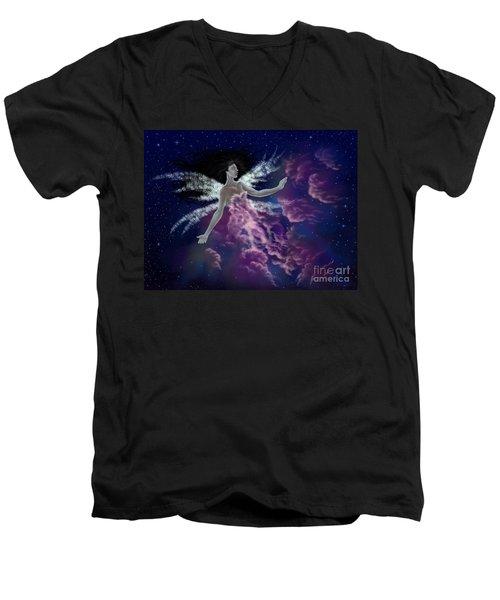 Nebula Men's V-Neck T-Shirt by Amyla Silverflame
