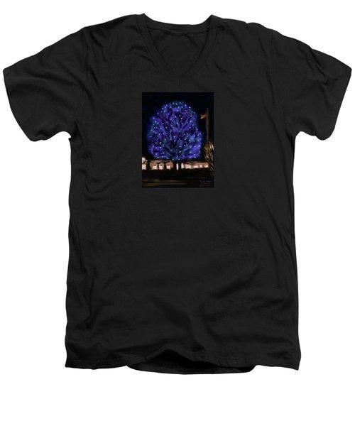 Needham's Blue Tree Men's V-Neck T-Shirt