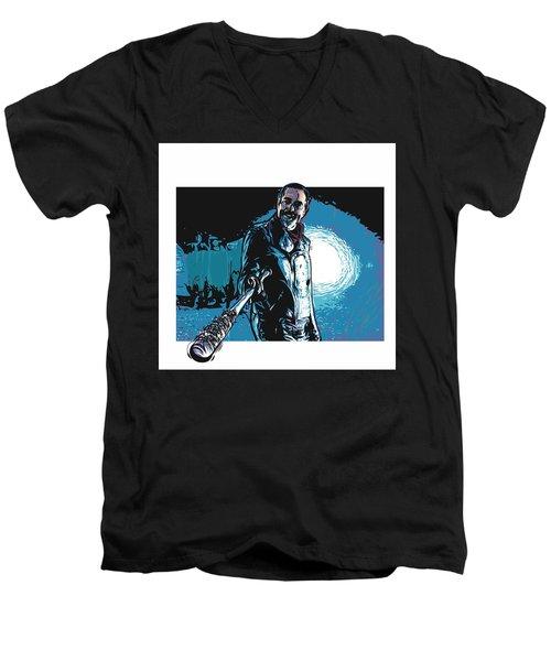 Men's V-Neck T-Shirt featuring the digital art Negan by Antonio Romero
