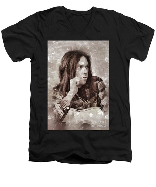Neil Young By Mary Bassett Men's V-Neck T-Shirt