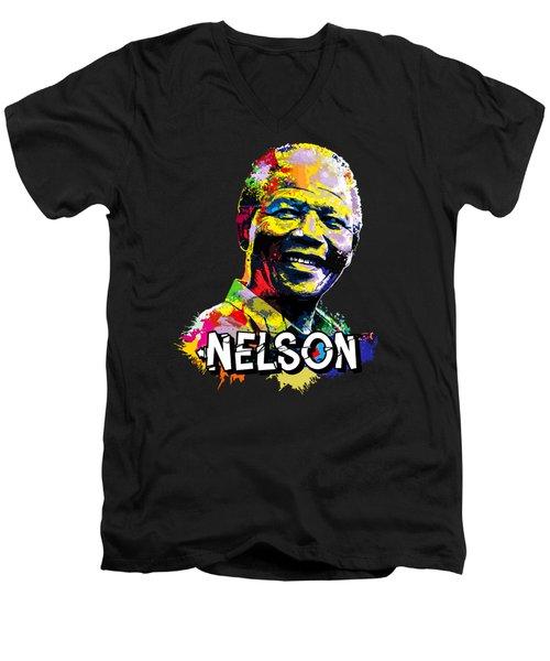Nelson Mandela Madiba Men's V-Neck T-Shirt by Anthony Mwangi