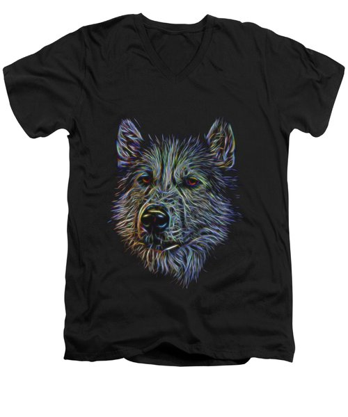 Men's V-Neck T-Shirt featuring the photograph Neon Husky by Brian Cross