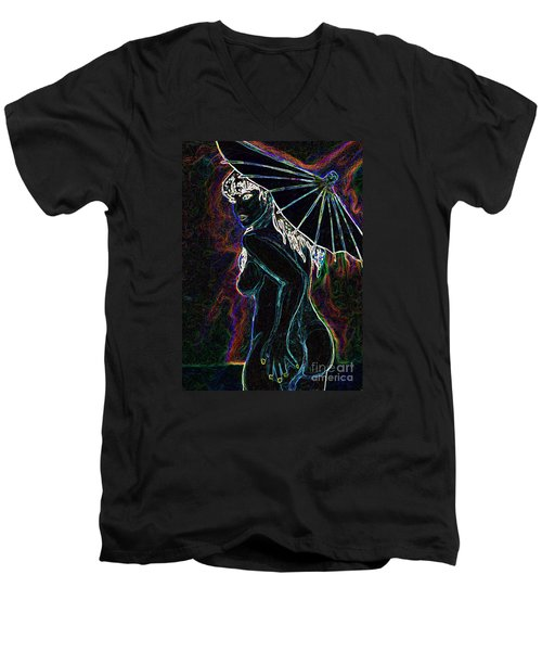 Men's V-Neck T-Shirt featuring the painting Neon Moon by Tbone Oliver