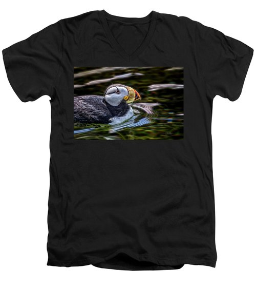 Neon Puffin Men's V-Neck T-Shirt