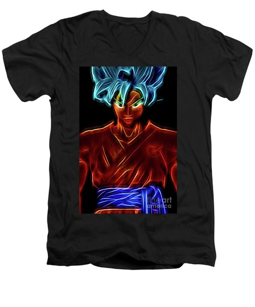 Men's V-Neck T-Shirt featuring the digital art Neon Ss God Goku by Ray Shiu