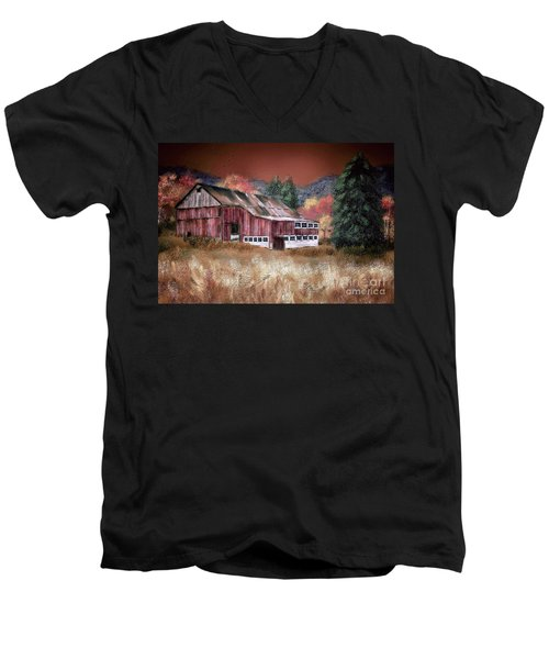 Men's V-Neck T-Shirt featuring the digital art Nestled In The Laurel Highlands by Lois Bryan