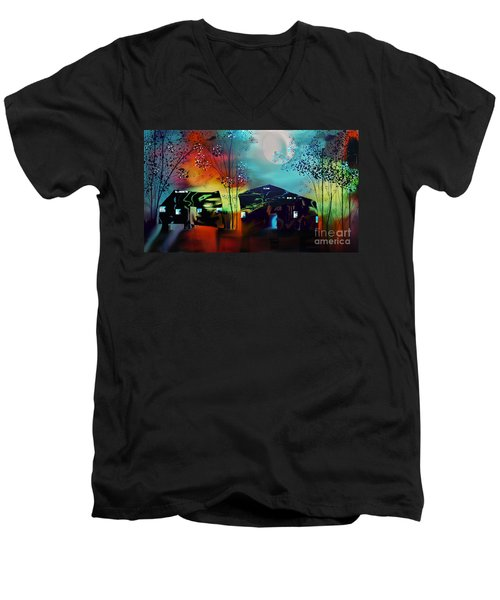 Men's V-Neck T-Shirt featuring the digital art Never Alone  by Yul Olaivar