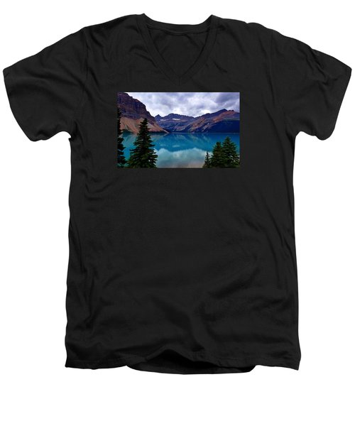 Bow Lake, Banff, Ab  Men's V-Neck T-Shirt by Heather Vopni