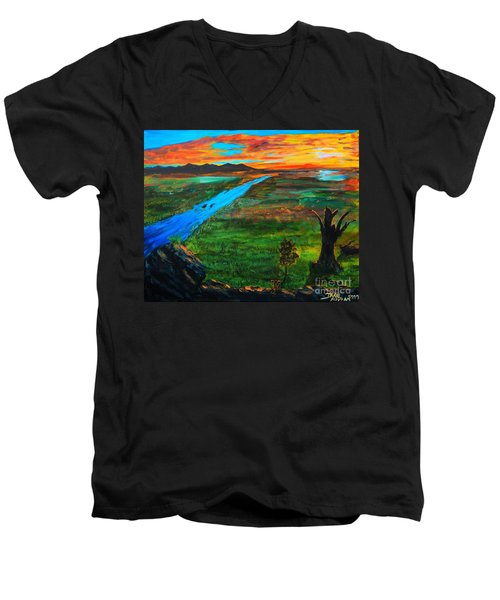 New Beginnings Men's V-Neck T-Shirt by Ruanna Sion Shadd a'Dann'l Yoder