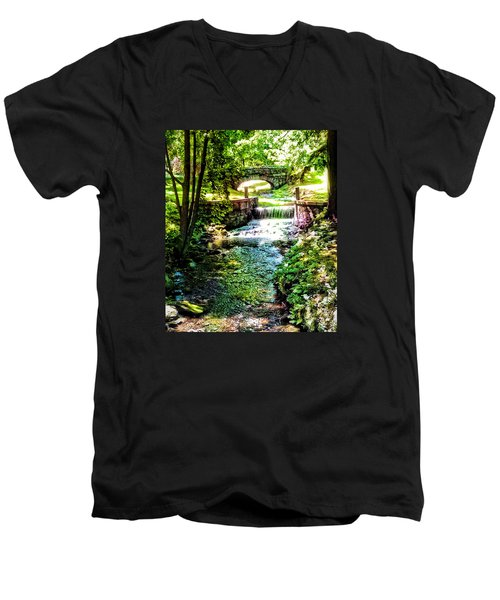 Men's V-Neck T-Shirt featuring the photograph New England Serenity by Kathy Kelly