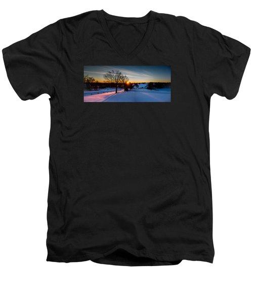 New England Sunrise Men's V-Neck T-Shirt