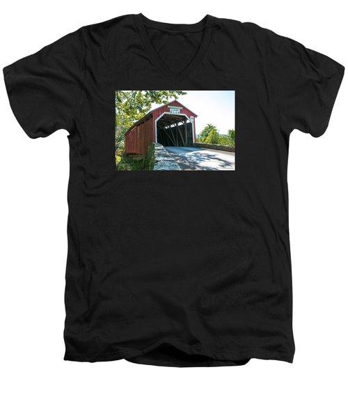 New Germantown Covered Bridge Men's V-Neck T-Shirt