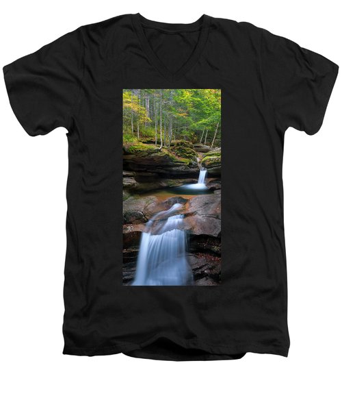 New Hampshire Sabbaday Falls Panorama Men's V-Neck T-Shirt