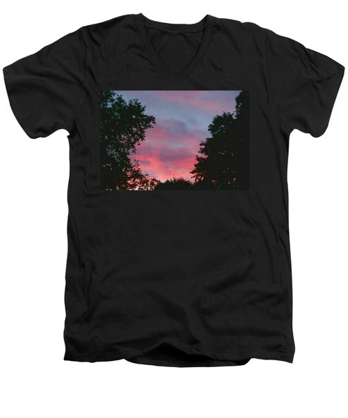 Men's V-Neck T-Shirt featuring the digital art New Hampshire Sunset by Barbara S Nickerson