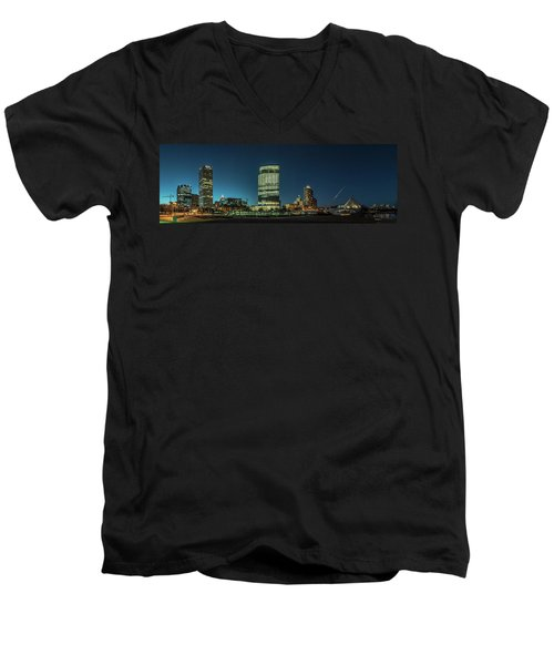 Men's V-Neck T-Shirt featuring the photograph New Milwaukee Skyline by Randy Scherkenbach