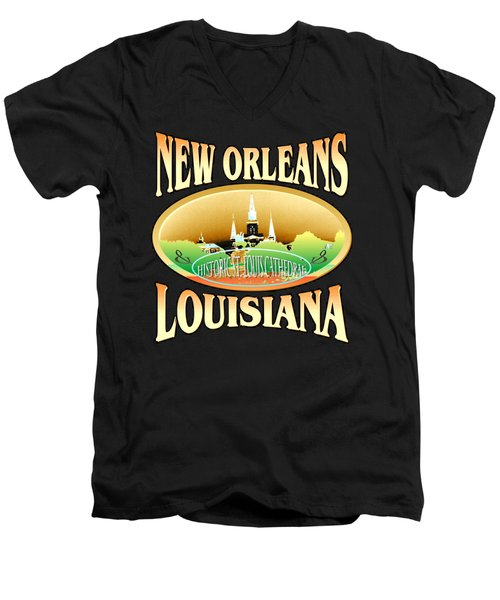 New Orleans Louisiana Tshirt Design Men's V-Neck T-Shirt by Art America Gallery Peter Potter
