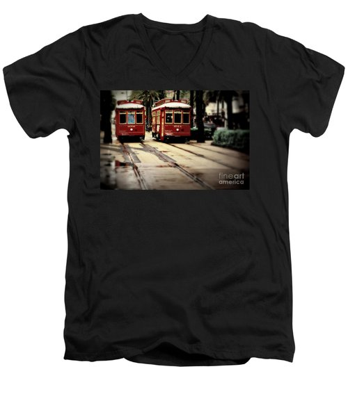New Orleans Red Streetcars Men's V-Neck T-Shirt by Perry Webster
