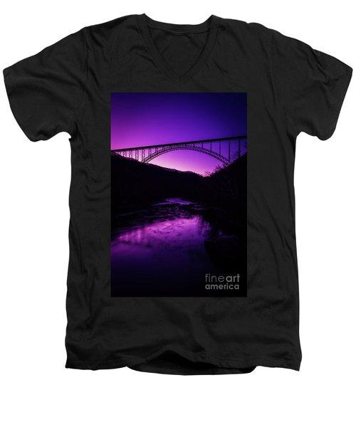 New River Gorge Bridge Afterglow Men's V-Neck T-Shirt