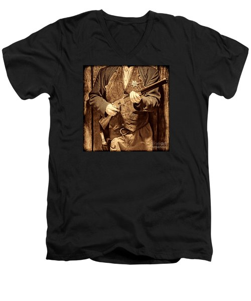New Sheriff In Town Men's V-Neck T-Shirt by American West Legend By Olivier Le Queinec
