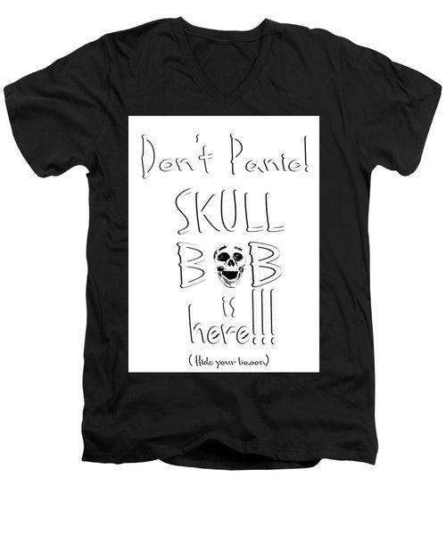 Skull Bob Men's V-Neck T-Shirt by Phil Koch