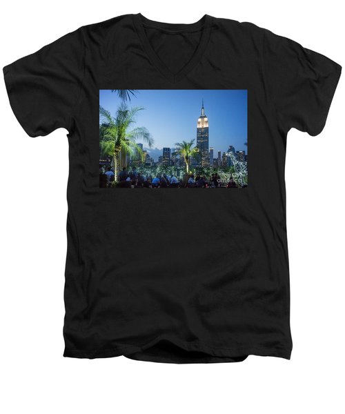 Men's V-Neck T-Shirt featuring the photograph New York 230 Fith Rooftop Bar  by Juergen Held