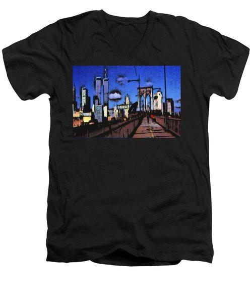 New York Blue - Modern Art Painting Men's V-Neck T-Shirt