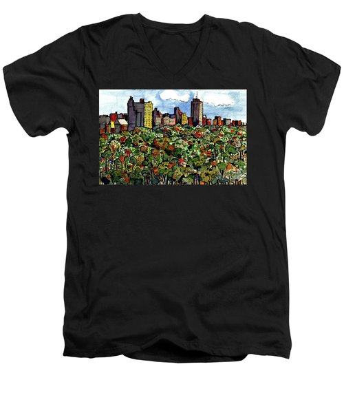 Men's V-Neck T-Shirt featuring the painting New York Central Park by Terry Banderas