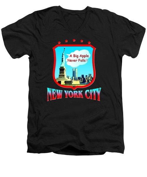 New York City Big Apple - Tshirt Design Men's V-Neck T-Shirt by Art America Gallery Peter Potter