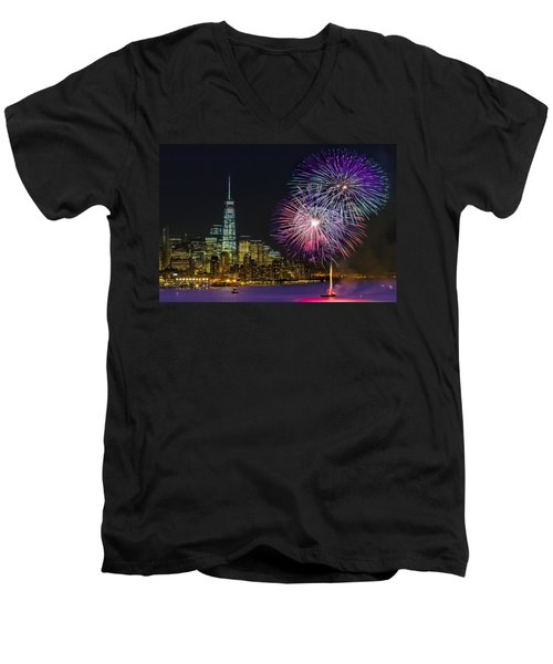 New York City Summer Fireworks Men's V-Neck T-Shirt