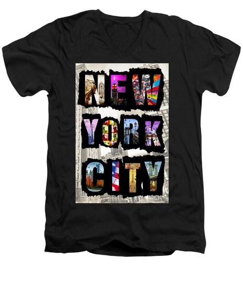 New York City Text Men's V-Neck T-Shirt