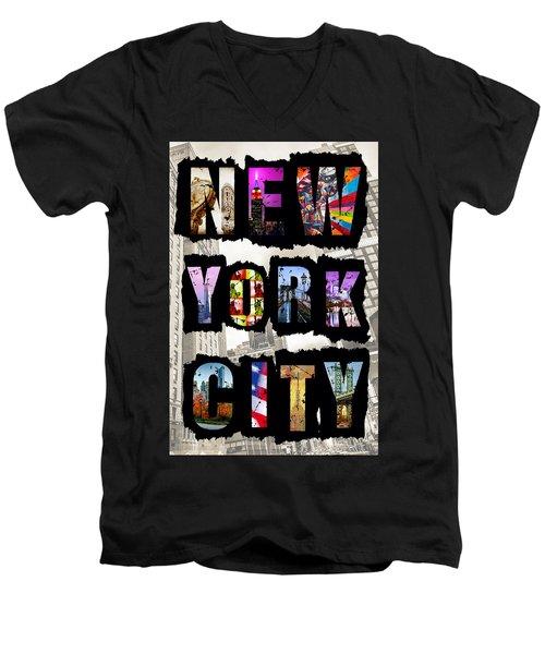 New York City Text Men's V-Neck T-Shirt