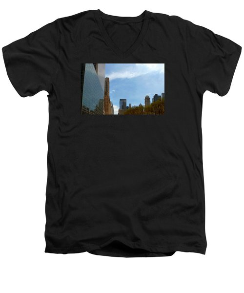 New York Men's V-Neck T-Shirt by Helen Haw
