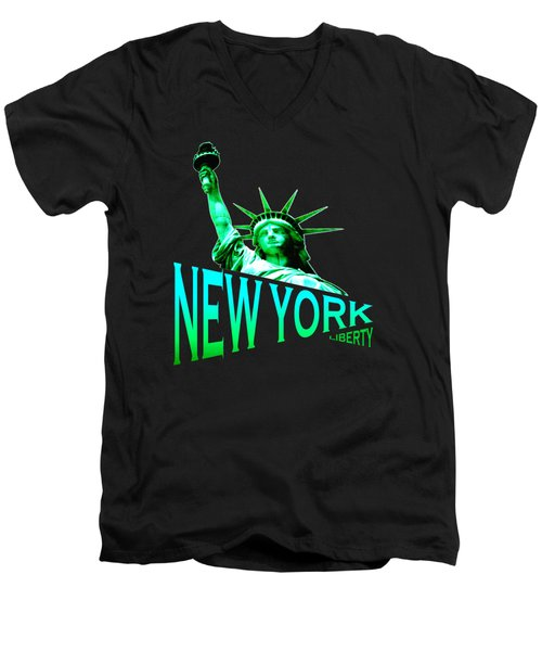 New York Liberty Design Men's V-Neck T-Shirt