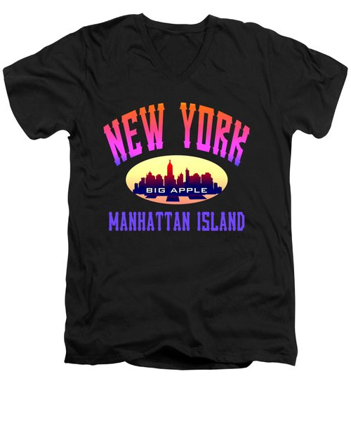 New York Manhattan Island Design Men's V-Neck T-Shirt